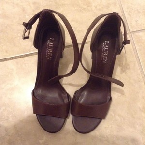 Ralph Lauren Womens Leather Sandals Heels Brown Pumps