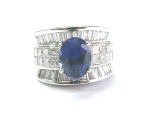 Other Fine Gem Sapphire Diamond Multi Shape White Gold Jewelry Ring 4.34Ct
