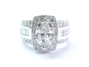 Other Fine Marquise Princess & Round Cut Diamond White Gold Engagement WIDE