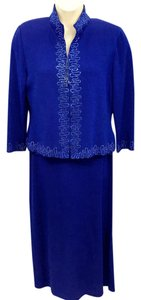 St. John St. John Evening Royal Blue Embellished Knit 3-Pc. Knit Skirt Suit 14