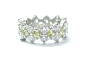 Other Platinum Diamond Yellow Sapphire Eternity Band Jewelry Ring 4.65Ct Sz