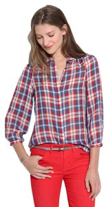 Madewell Plaid Silk Peter Pan Collar Date Night Chic Top Multi