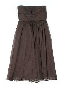 J.Crew Brown Strapless J. Crew Brown 100% Silk Layered Dress Sz 0 Dress