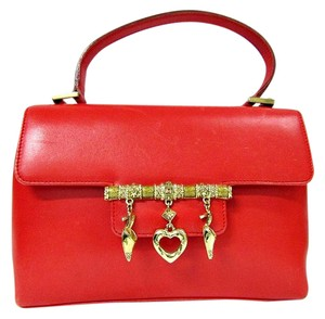 St. John Leather Flap Gold Jewelry Satchel in red