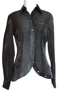 Armani Collezioni Metallic Sheer Top Platinum
