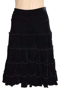 bebe Gothic Tiered Velvet Skirt BLACK