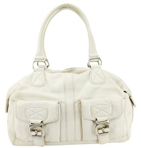 Michael Kors Pebbled Leather Pockets Buckle Satchel in Vanilla