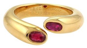 Cartier Cartier Gold Ellipse Deux Tetes Croisees Rubies 18k YGold Bypass Ring