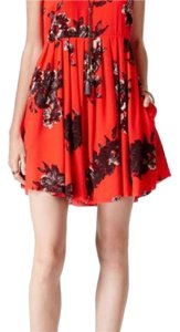 Free People short dress red, floral on Tradesy