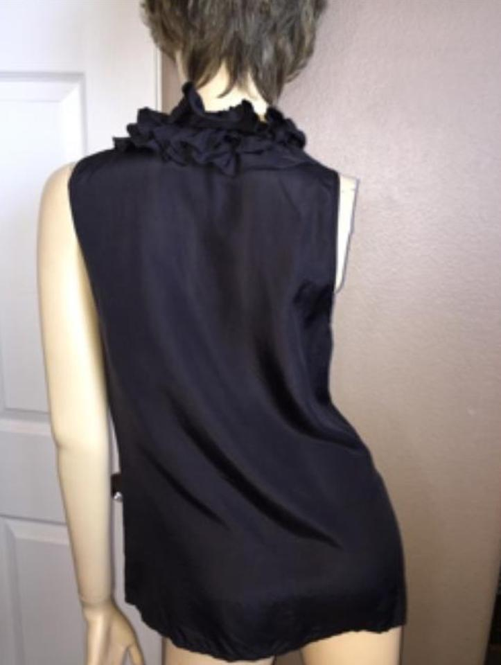 95b41197cffa0 J.Crew Charcoal Gray Ruffle Neck Silk Sleeveless Tank Top Cami Size ...