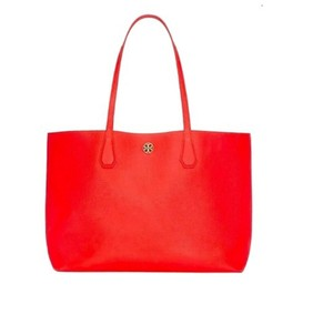 Tory Burch Tote in poppy red /pale apricot