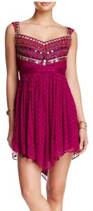 Free People Bohemian Mini Beaded Chevron Dress