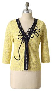 Anthropologie Field Flower Lace Yellow Jacket Cardigan