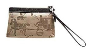 Coach Wristlet in Black Leather Trim