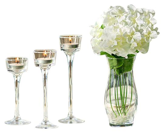 Elegant long stem candle holders only per centerpiece