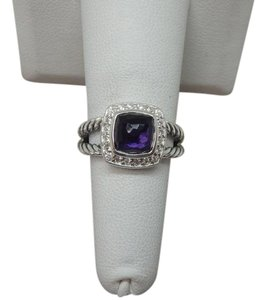 David Yurman size 6 W/ Pouch Albion Petite Ring Black Orchid With Pave Diamonds