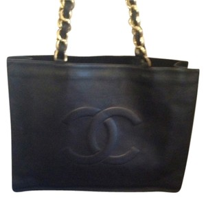 Chanel Leather Vintage Jumbo Tote Shoulder Bag