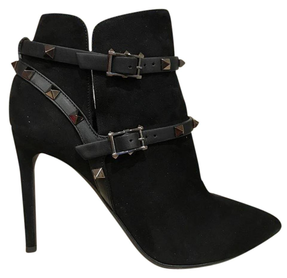Valentino Black Ankle Rockstud Noir Suede Buckle Ankle Black Heel Pump 37 Boots/Booties dfb0f2