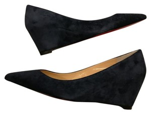 Christian Louboutin Heels Pipina Wedge Suede Night (Navy Blue) Pumps