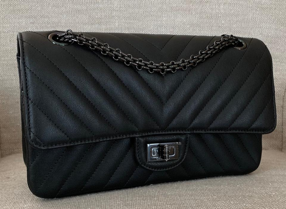 88381ae0d53f Chanel 2.55 Reissue Classic Chevron Reissue Double Flap Limited Edition So Black  Sheepskin Leather Shoulder Bag - Tradesy