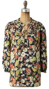 Anthropologie Top Navy Blue Yellow Pink Green Floral