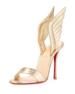 Christian Louboutin Wing Samotresse Heels Gold Light Gold Sandals