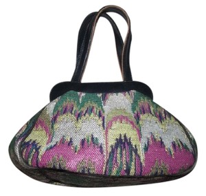 Missoni Mint Vintage Boxy & Structured Dressy Or Casual 60's Mod Look Two-way Style Satchel in navy blue leather and multicolored, chevron print fabric