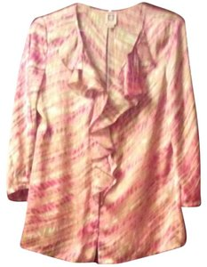 Anne Klein Frilly Top Peach, Shrimp, Cranberry, Beige & Off White Print