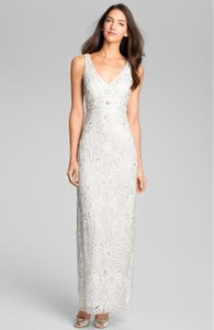 Sue Wong Ivory V-neck Embroidered Column Gown Feminine Wedding Dress Size 12 (L)