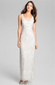 Sue Wong Ivory V-neck Embroidered Column Gown Feminine Wedding Dress Size 14 (L)