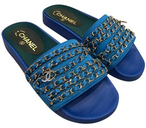 Chanel Chain Slides Slide blue Sandals