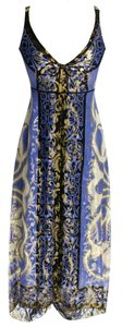 Nicole Miller Silk Metallic Print Sleeveless Empire Waist Dress