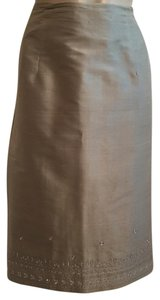 Neiman Marcus Silk Sequin Embroidered Skirt Tan