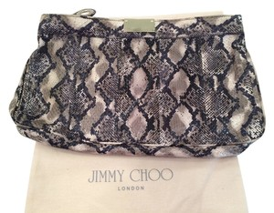Jimmy Choo Snakeskin Elaphe Black, Grey, Creme Clutch