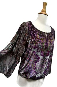 One World Peasant Boho Romantic Velvet Top Purple Gray