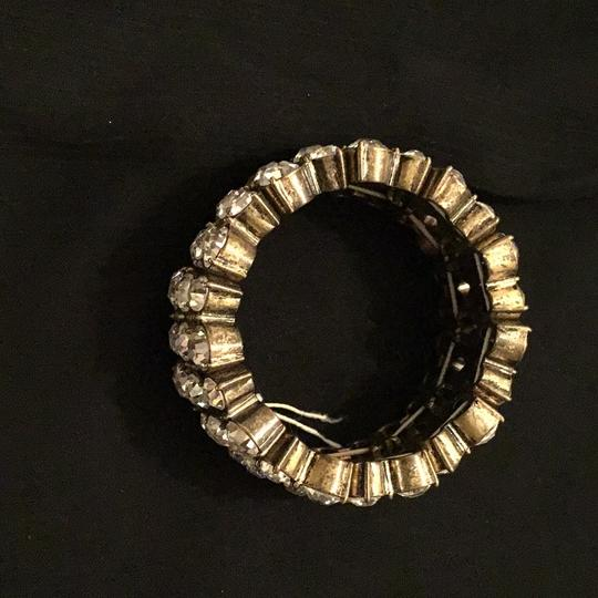 J.Crew Rustic yellow tone round settings white crystals