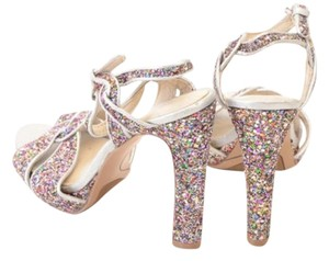 Nine West Glitter Heels Prom Party Metallic Sandals Silver Multi Color Pumps