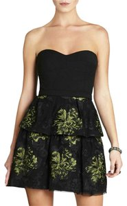 BCBGMAXAZRIA Strapless Floral Bustier Jacquard Sweetheart Dress