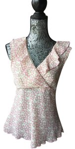 No Boundaries Floral Flowers Top Cream and pink