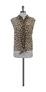 Equipment Light Tan Cheetah Print Tie Top