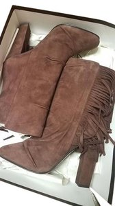 Giuseppe Zanotti Suede Fringe Hem Leather Chocolate Boots