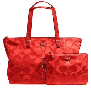 Coach Cosmetic Travel Tote in Red