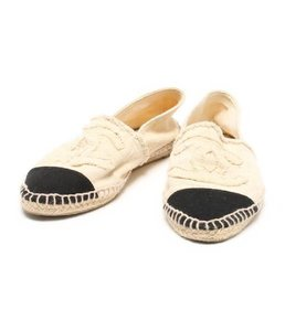 Chanel Espadrilles Slip-ons Espadrille Slippers Black x Ivory Flats