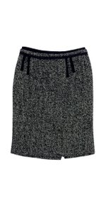 Natan Collection Black & White Herringbone Tweed Skirt