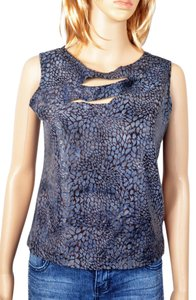 Moa Moa Ripped Snakeskin Soft Stretchy Top Grey & Black