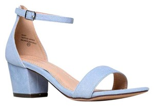 J. Adams Ankle Strap Heel Open Toe Suede Blue Sandals