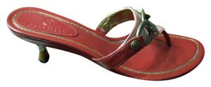 Cole Haan Chain Hardware Kitten Heel Leather Gold Trim Red Sandals