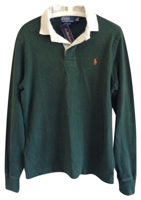 Preload https://item2.tradesy.com/images/polo-ralph-lauren-hunter-green-custom-fit-men-s-rugby-button-down-top-size-6-s-2101176-0-0.jpg?width=400&height=650
