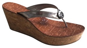 Tory Burch metallic pewter Wedges