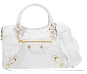 Balenciaga Classic Mini City Textured Leather Tote in white